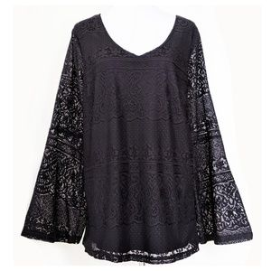 SIMPLY EMMA V Neck Lace Top 3X